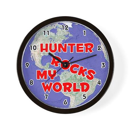 Hunter Rocks My World (Red) Wall Clock