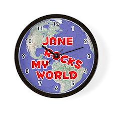 Jane Rocks My World (Red) Wall Clock