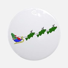SANTA AND HIS BASSDEER - ROUND ORNAMENT