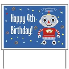 Retro Robot 4th Birthday Yard Sign