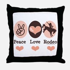 Peace Love Cowboy Rodeo Horse Throw Pillow