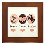 Peace Love Cowboy Rodeo Horse Framed Tile