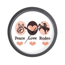 Peace Love Cowboy Rodeo Horse Wall Clock