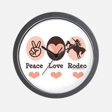 Peace Love Cowboy Rodeo Horse Wall Clock