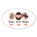 Peace Love Cowboy Rodeo Horse Oval Sticker
