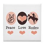 Peace Love Cowboy Rodeo Horse Tile Coaster