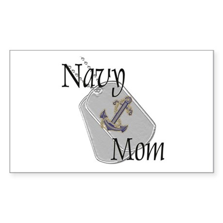 Anchor Navy Mom Rectangle Sticker