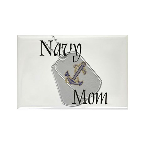 Anchor Navy Mom Rectangle Magnet