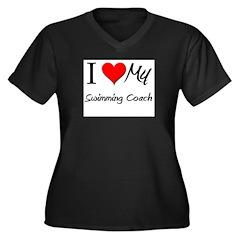 I Heart My Swimming Coach Women's Plus Size V-Neck