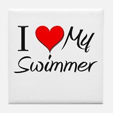 I Heart My Swimmer Tile Coaster