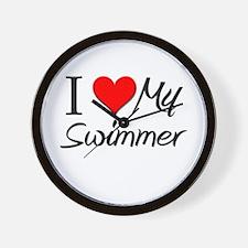 I Heart My Swimmer Wall Clock