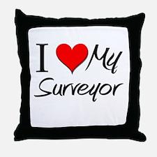 I Heart My Surveyor Throw Pillow