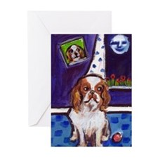 KING CHARLES SPANIEL art Greeting Cards (Package o