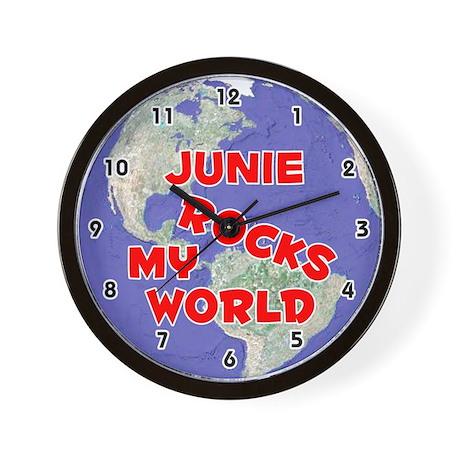 Junie Rocks My World (Red) Wall Clock