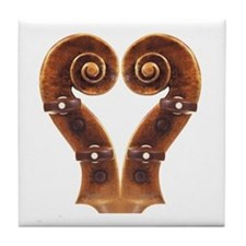 Violin Scroll Heart Tile Coaster