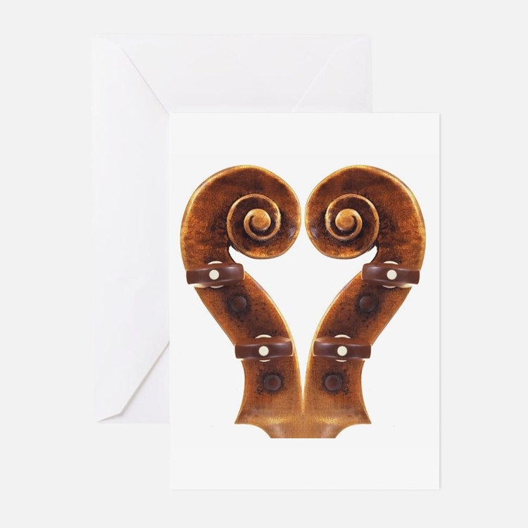 Violin Scroll Heart Greeting Cards (Pk of 20)