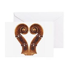 Violin Scroll Heart Greeting Cards (Pk of 10)