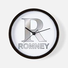 Silver R for Mitt Romney Wall Clock