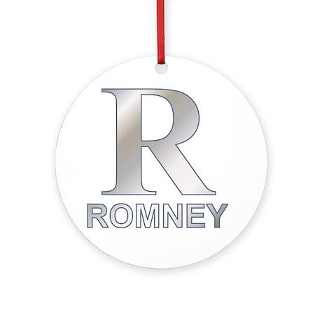 Silver R for Mitt Romney Ornament (Round)