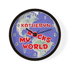 Katheryn Rocks My World (Red) Wall Clock