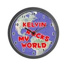 Kelvin Rocks My World (Red) Wall Clock