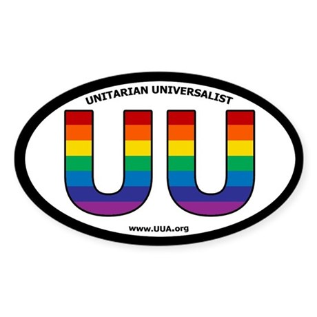 Rainbow UU Bumper Oval Sticker with UUA website.