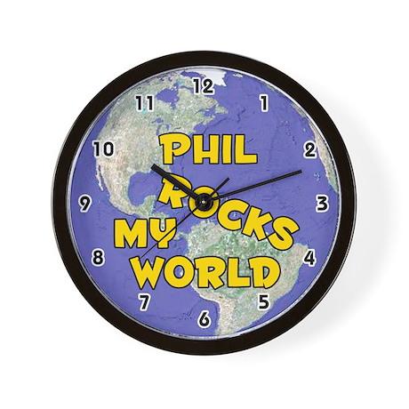 Phil Rocks My World (Gold) Wall Clock