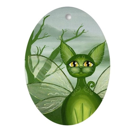 """Irish Isles"" Cat Fairy Keepsake (Oval)"