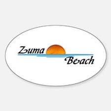 Zuma Beach Sunset Oval Decal