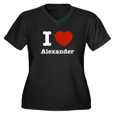 I love Alexander Women's Plus Size V-Neck Dark T-S