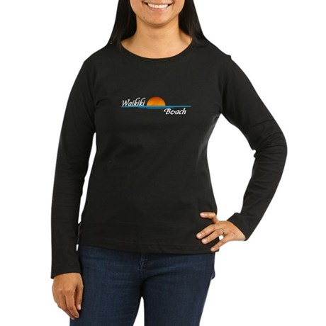 Waikiki Beach Sunset Women's Long Sleeve Dark T-Sh