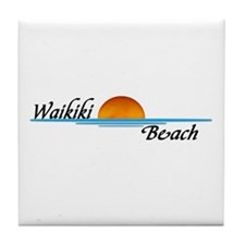 Waikiki Beach Sunset Tile Coaster