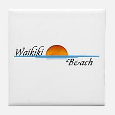 Waikiki Beach Sunset Tile Coaster
