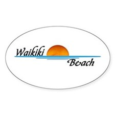 Waikiki Beach Sunset Oval Decal