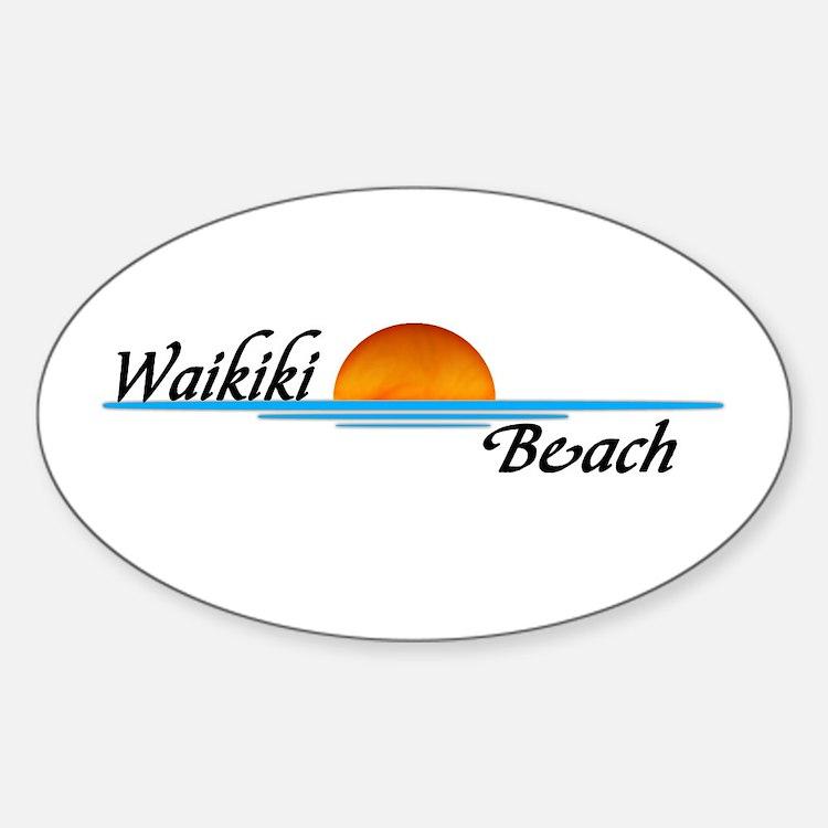 Waikiki Beach Sunset Oval Decal