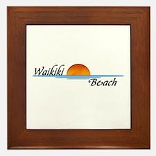 Waikiki Beach Sunset Framed Tile