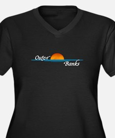 Outer Banks Sunset Women's Plus Size V-Neck Dark T