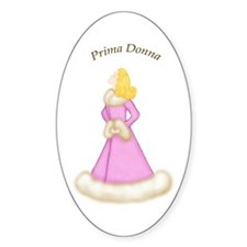 Blonde Prima Donna in Pink Robe Oval Decal