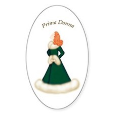 Redhead Prima Donna in Green Robe Oval Decal