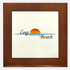 Long Beach Sunset Framed Tile