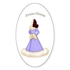 Brunette Prima Donna in Violet Robe Oval Decal