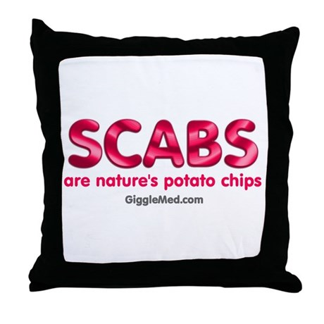 Scabs Natures Potato Chips Throw Pillow