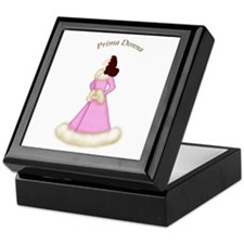Brunette Prima Donna in Pink Robe Keepsake Box