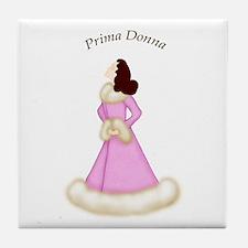 Brunette Prima Donna in Pink Robe Tile Coaster