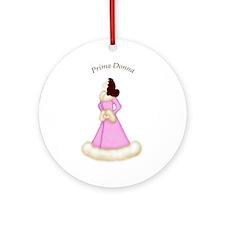 Brunette Prima Donna in Pink Robe Ornament
