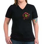 Dark Purple Daylily Women's V-Neck Dark T-Shirt