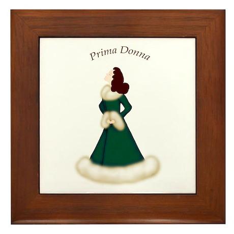 Brunette Prima Donna in Green Robe Framed Tile