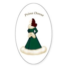 Brunette Prima Donna in Green Robe Oval Decal