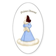 Brunette Prima Donna in Blue Robe Oval Decal