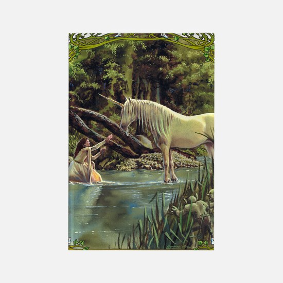 Unicorn in Woods Rectangle Magnet